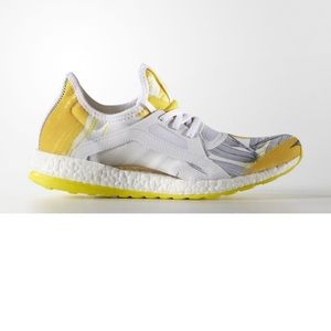 Adidas White & Yellow Pure Boost Running Shoes